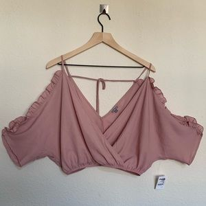 ✨NEW✨ Charlotte Russe Dusty Pink Cold Shoulder Top